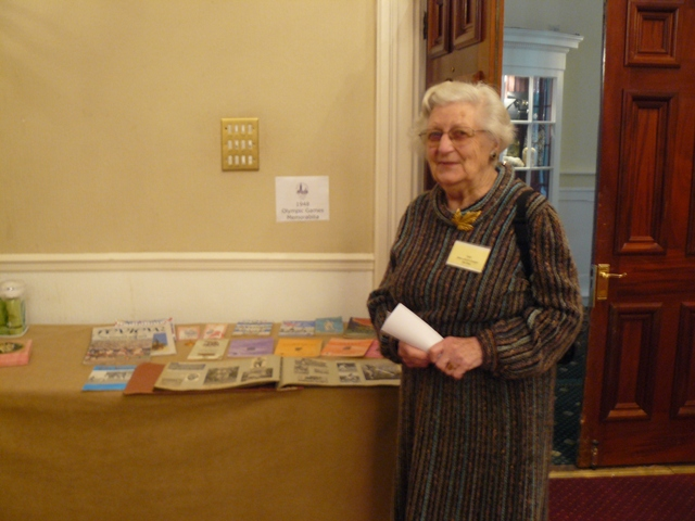 03 Joyce shows her collection of 1948 Olympics memorabilia